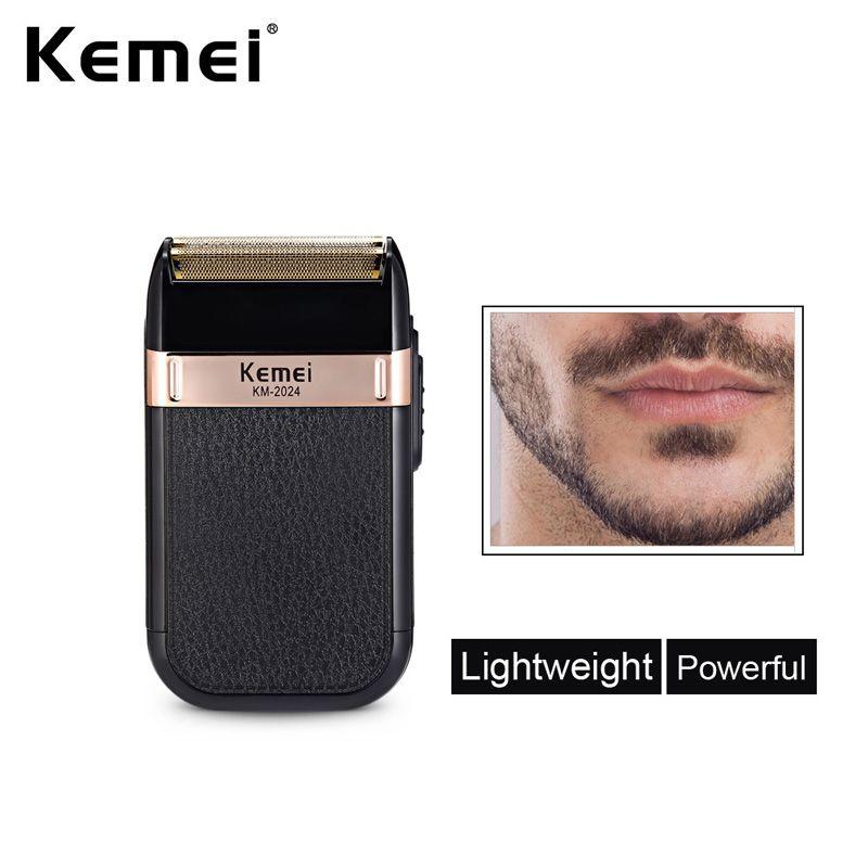 KEMEI KM-2024 Электрическая бритва для мужчин Двухместный лезвие водонепроницаемый возвратно-поступательный беспроводной бритвой USB аккумуляторная бритвенная машина триммер