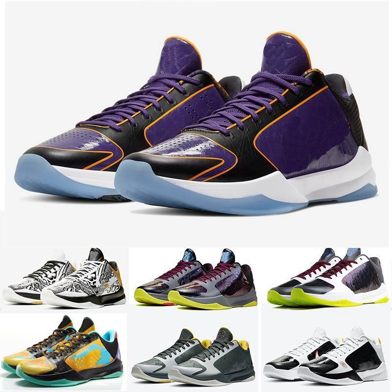 Mamba Zoom 5 Protro Basketbol Ayakkabıları Hangi Lakers Bruce Lee Büyük Sahne Kaos Prelude Metalik Altın Yüzükler Erkekler Ayakkabı Spor Sneakers