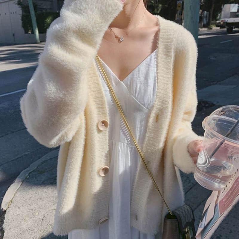가을 봄 단단한 스웨터 여성 카디건 V 넥 루스 니트 캐주얼 겉옷 저지와 스타일 의류 여성의 니트 티셔츠