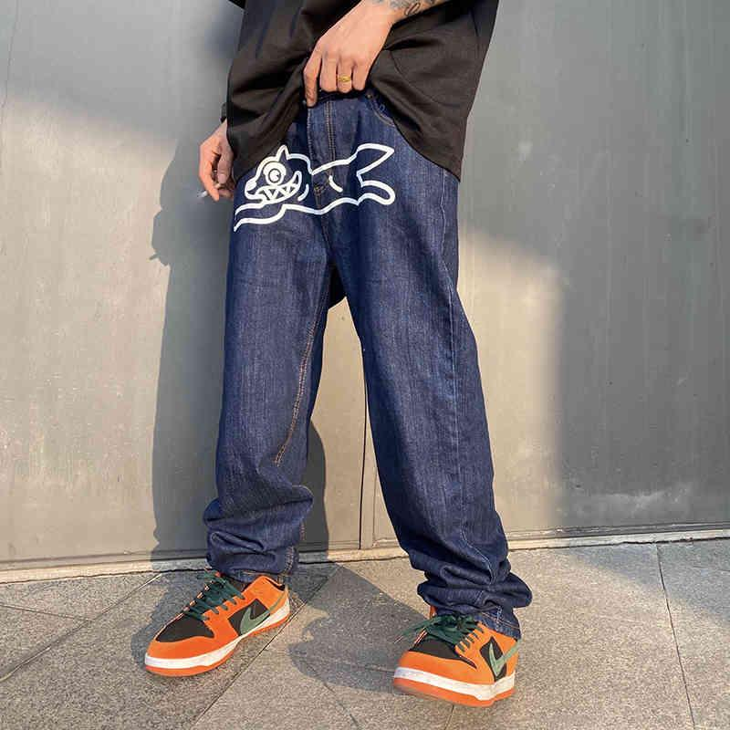 Uçan Köpek Baskı Düz Gevşek Kot Erkek Retro Yüksek Sokak Boy Rahat Denim Pantolon Harajuku Yıkanmış Hip Hop Jean Pantolon