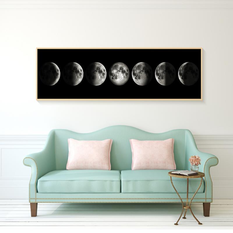 Otra decoración para el hogar Minimalista Moon Fases Lienzo Pintura de arte blanco y negro Cartel gráfico gráfico de pared grande para sala de estar sin marco