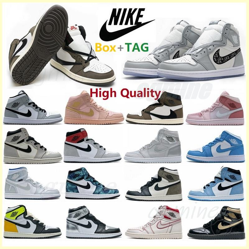 with box 2021 men women fearless chicago obsidian mocha satin retro shoes 1 1s low mens Jumpman basketball court grey 36-47 t1#dh