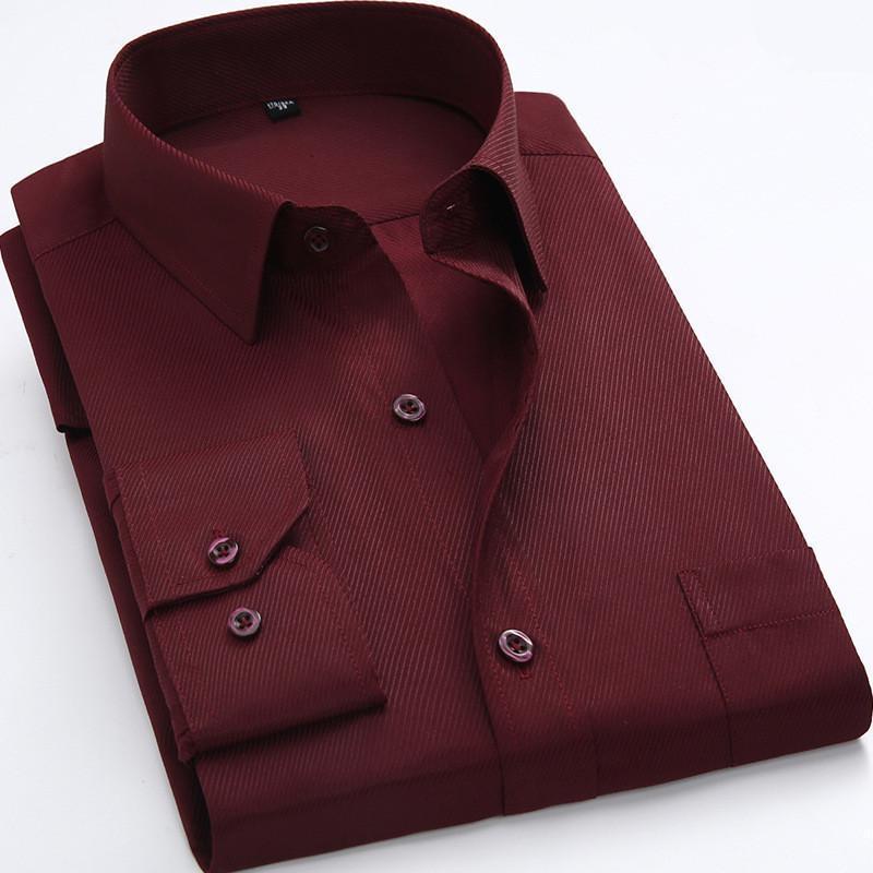 남성용 공식 셔츠 망 작업 소프트 긴 소매 스퀘어 칼라 일반 단단한 평야 / 능 직물 남자 드레스 화이트 남성 탑 캐주얼