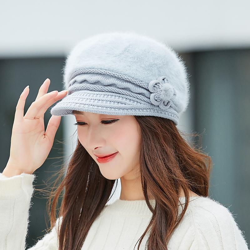 Chapéu quente chapéu aquecido inverno outono beret chapéu para mulheres lã chapéu de malha para mamãe coelho beret sólido moda senhora boné cabra