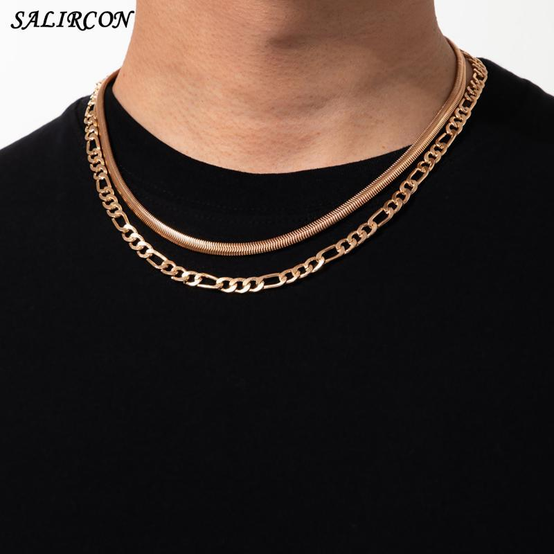 Vintage Copper Link Snake Chain Necklace For Women Men Kpop Aesthetic Layered Simple Choker Fashion Jewelry Chains
