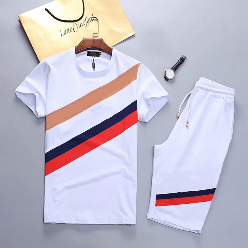 رياضية 2-قطعة قصيرة الأكمام قميص والسراويل دعوى 2021 رسائل مطبوعة فاخرة أزياء الصيف ملابس رياضية ملابس رجالية