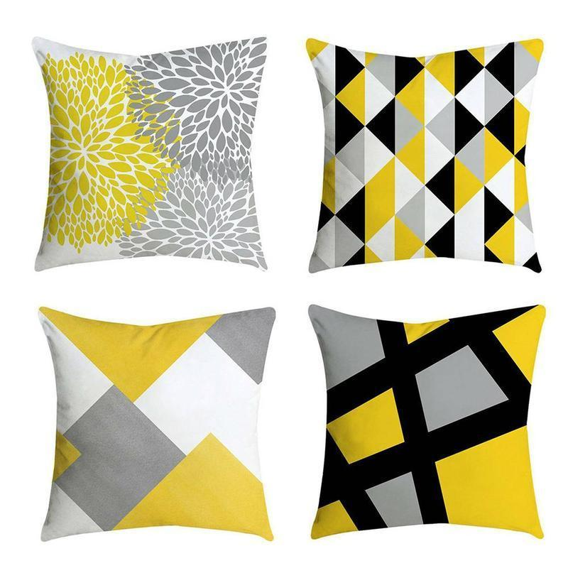Cushion/Decorative Pillow Geometric Printed Throw Case Gray Diamond Wave Waist Cushion Cover Office Sofa Housse De Coussin Kussenhoes Yellow