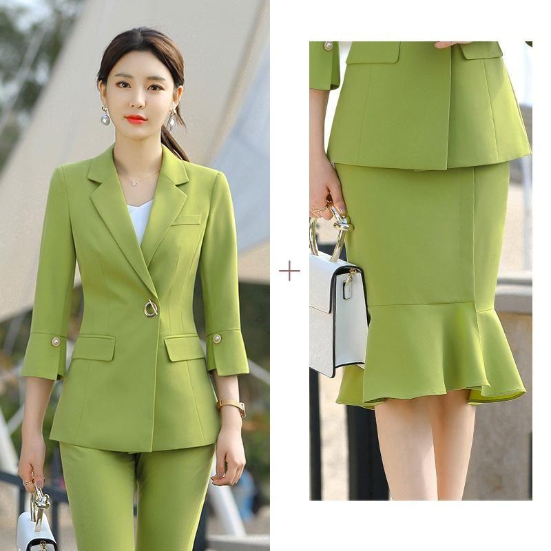 Office Damen Rock und Jacke zwei Stück Set Formale Arbeit Business Anzüge Schwarz Green Womens 3/4 Sleeve Blazer Röcke Kleider