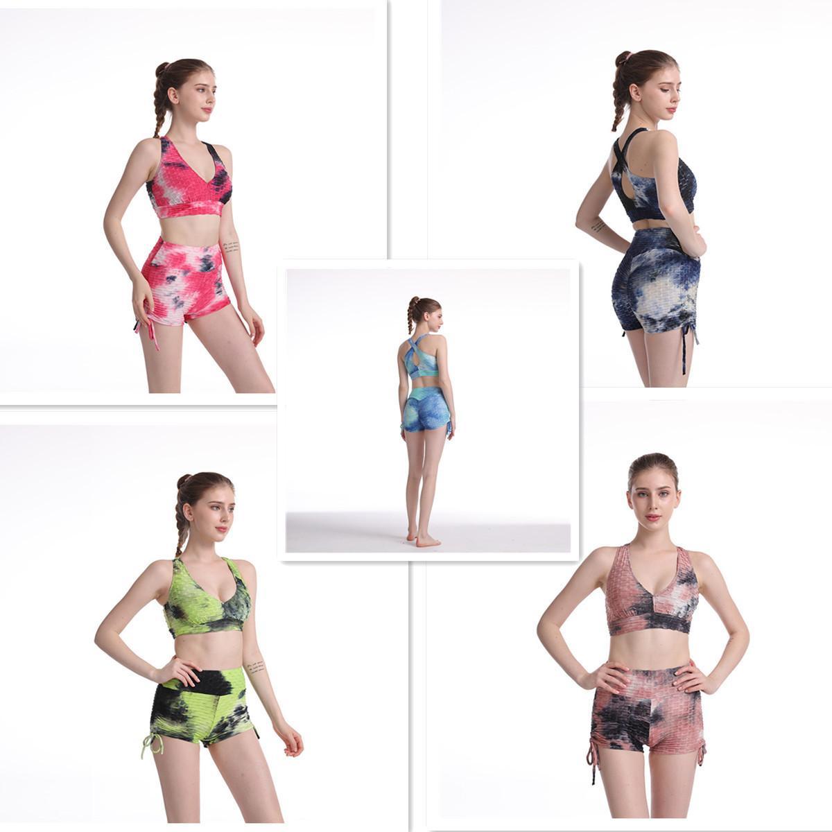 Летний новый пузырь жаккардовый жилет набор женщин йога многоцветный галстук краситель бюстгальтер короткий костюм женские дизайнеры две части трексуитов 2021