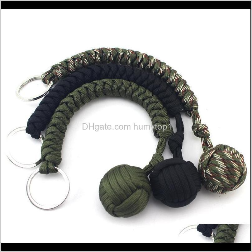 Outdoor Self Defense Survival Bracelets Seven Core Parachute Cord Braided Key Buckle With Steel Ball Hanging Chain Arrival 5 8Mx B Bj2 Hijbq