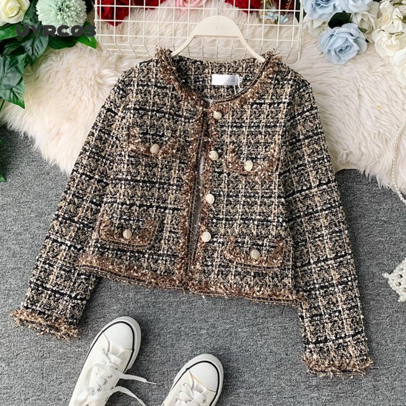 Herbst winter vintage tweed jacke mantel frauen kleine duft patchwork koreanische woolen croppte mäntel elegant kurze