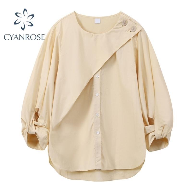 Solidi camicette e camicie di cardigan spumarte irregolari per le donne eleganti mezze manica casual ufficio ufficio signore blusas coreano top 210515