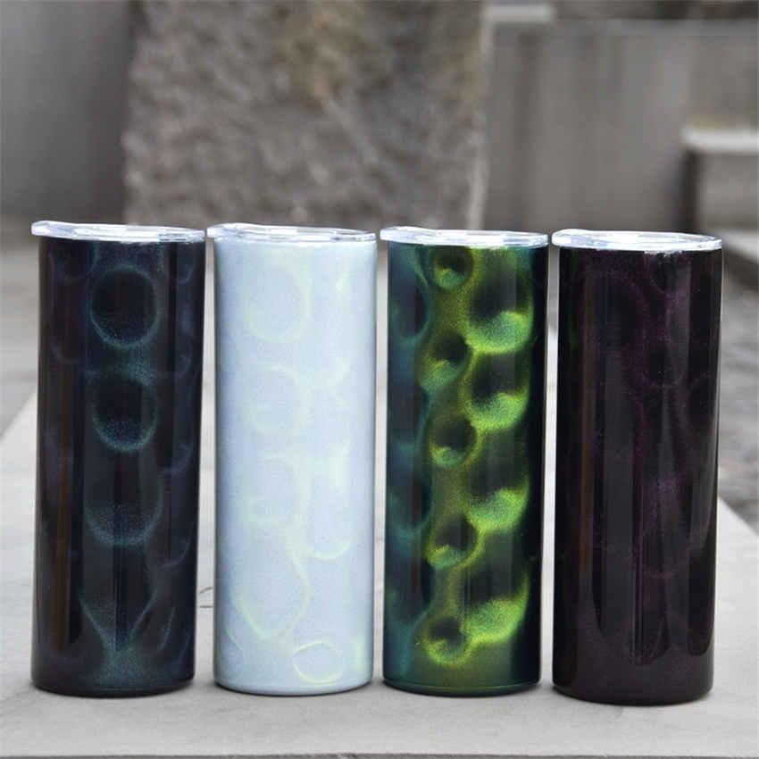 Sublimação 20oz tumbler straight pavão caneca de café com clara palha 3d cor de garrafa de água isolamento bebendo copo A02