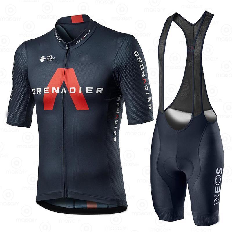사이클링 저지 세트 남자 팀 의류 ineos Grenadier 2020 competizione 짧은 소매 훈련 통기성 라이트 레이스 유니폼 210417
