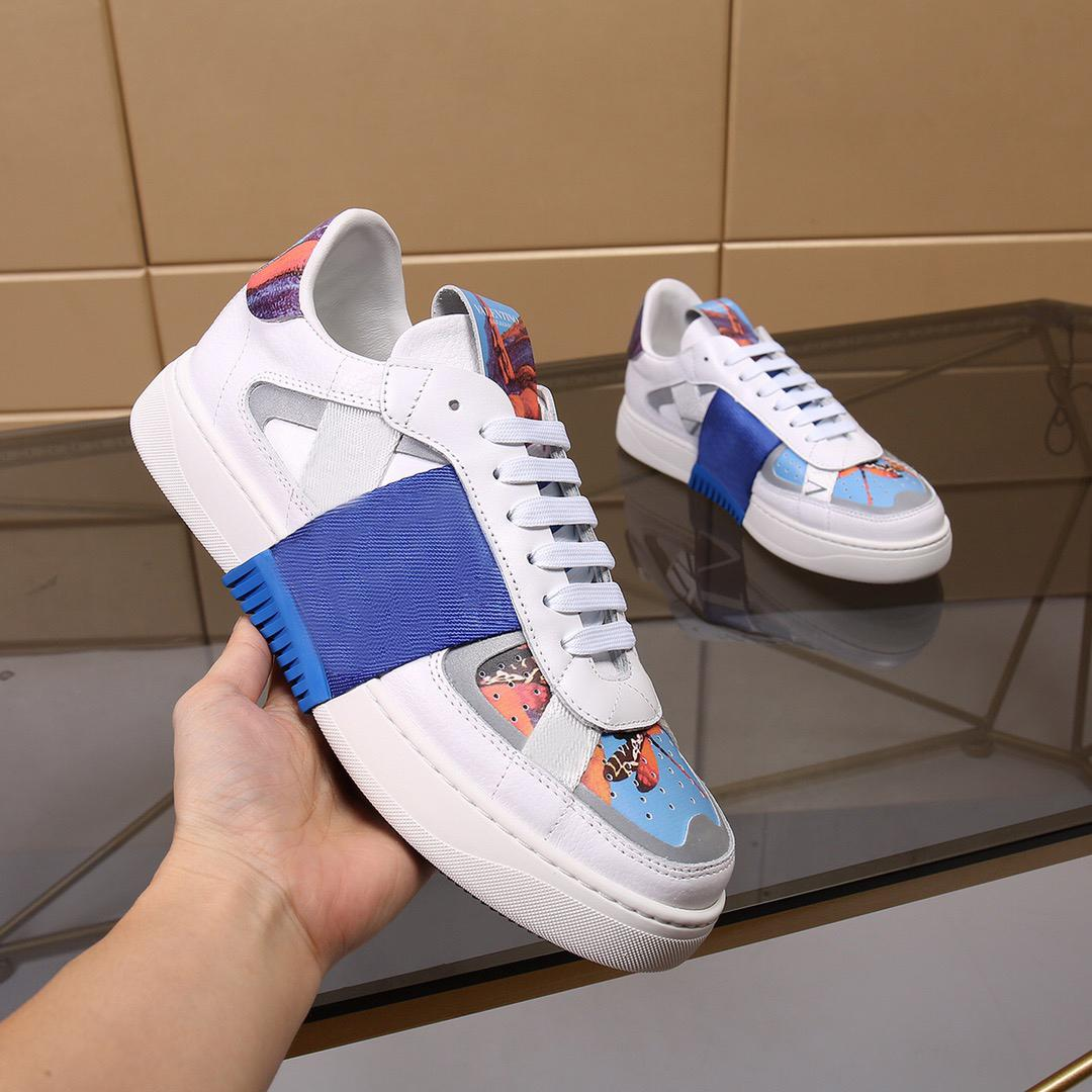 패션 남자 여성 운동화 캐주얼 신발 고품질 패치 워크 트렌디 한 펑크 리벳 낮은 탑 가죽 스케이트 보드 복장 신발