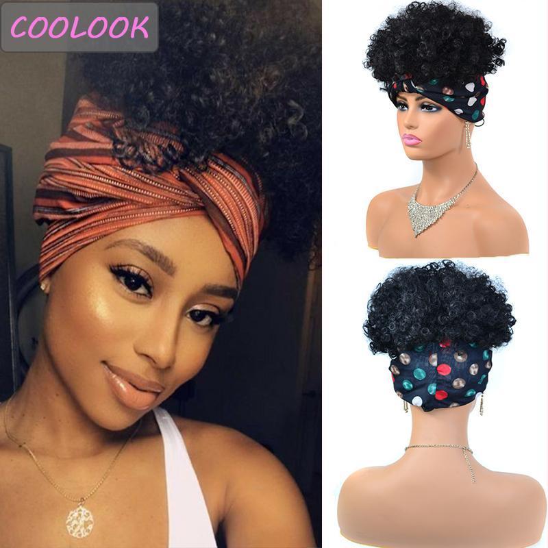 Parrucche di fascia riccia viziose per le donne 8 pollici Breve tappo afro tappo afro-resistente al calore in fibra cosplay profondo con sciarpa sintetica