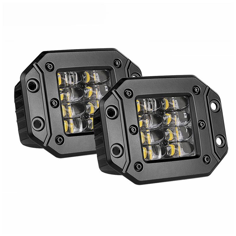 쿼드 행 4.5 인치 사각형 사이드 램프 24W 플러시 마운트 LED 작동 라이트 포드 도로에서 운전 4wd 트럭 자동차