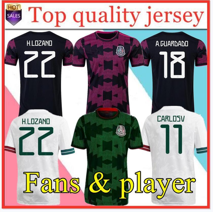 팬 플레이어 버전 멕시코 축구 유니폼 Copa America Camisetas 20 21 Chicharito Lozano Dos Guardado 2021 축구 셔츠 남성 + 키트 세트 키트