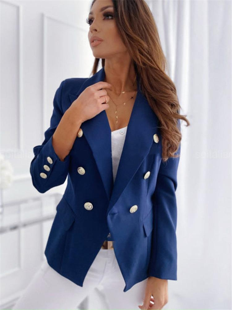 Women Suits Spring Autumn 2021 Office Lady Solid Blazers Elegant Double Breasted Long Sleeve Notched Jacket Coats Commuter Suit Slim Blazer