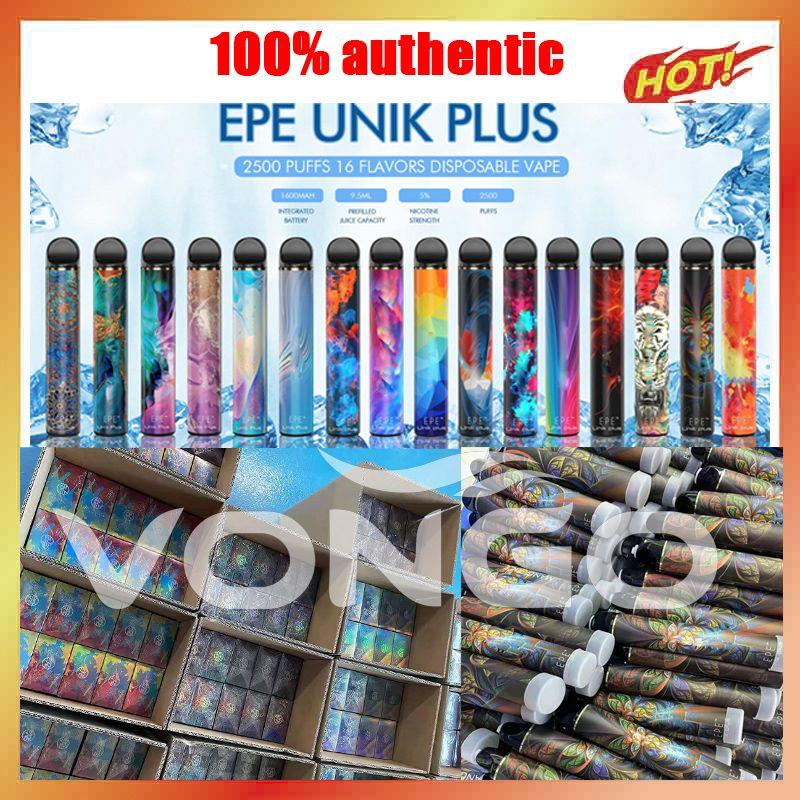 100% autentico EPE UNIK PLUS E-sigarette monouso 2500 colpisce il dispositivo Pod del vape 1600mAh 9.5ml vaporizzatore della batteria della cartuccia con il codice di autenticazione