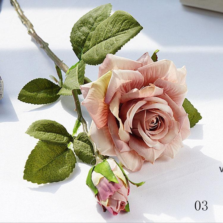 Alta qualità Realistic Decorative Flowers Decoration Diario Domestica Domestica Hotel Artificial Flower Rose Bouquet Posizionamento da sposa HWD7146
