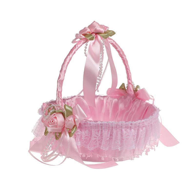 핑크 우아한 레이스 꽃 소녀 바구니 아름 다운 라운드 새틴 실크 호의 결혼 부속 파티 장식 H5658