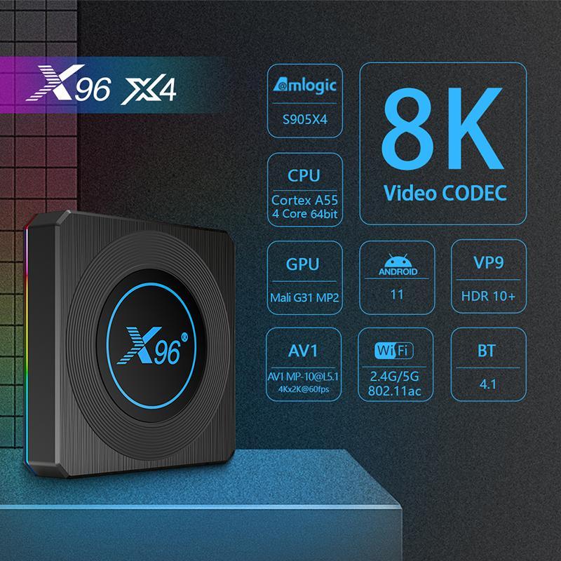 X96 X4 Android 11.0 TV BOX Amlogic S905X4 4GB 32GB 64GB Quad Core 2.4G 5G Dual Band WIFI BT 8K Media Player Set Top Boxes