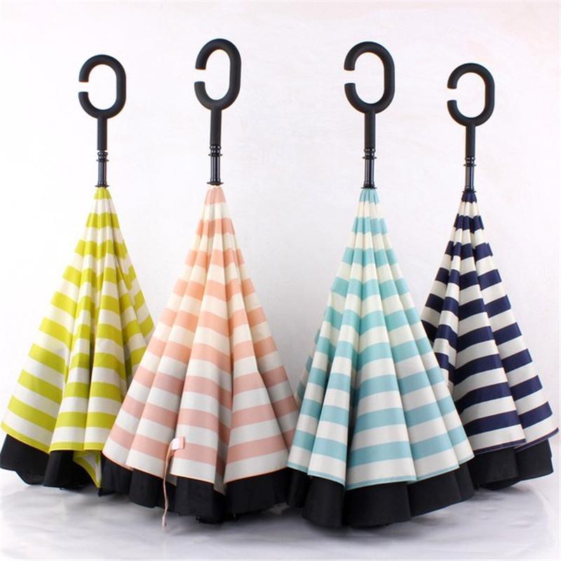 Creative Double Layer Pongee Stripe Reverse Umbrella Straight Long Handle Umbrella C-type Sun Protection Portable Umbrellas T500799
