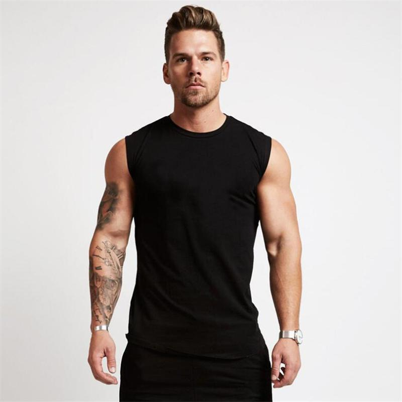 Men's Tank Tops Cotton Gym Clothing Mens Workout Sleeveless Shirt Bodybuilding Top Fitness Sportswear Vests Muscle Singlets Tanktop