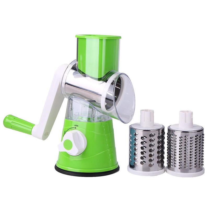 Vegetable Slicer Shredder Kitchen Tool Manual Rotary Vegetables Cutter with 3 Blades Round Mandoline Fruit Potato Julienne Carrot Cheese Grater