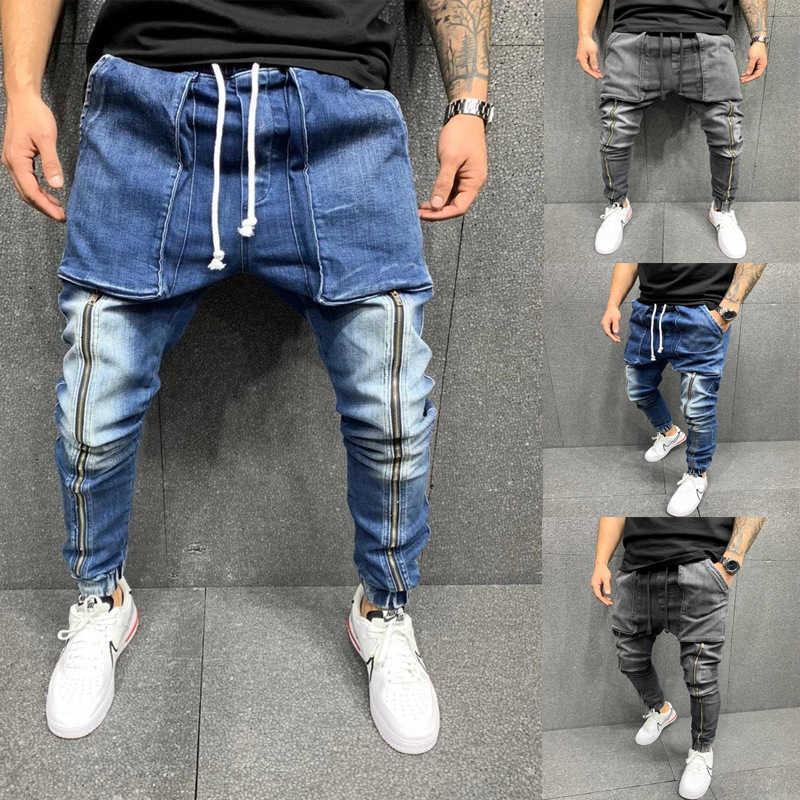 Otoño e invierno 2021 nuevo tejido de mezclilla ocio deportes grandes pantalones de bolsillo legged jeans masculinos