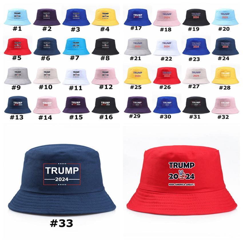 Trump Bucket Sun Cap de 33 estilos EE.UU. Elección Trump 2024 Pescador Hat Mantenga América Great Party Hats Zza3305