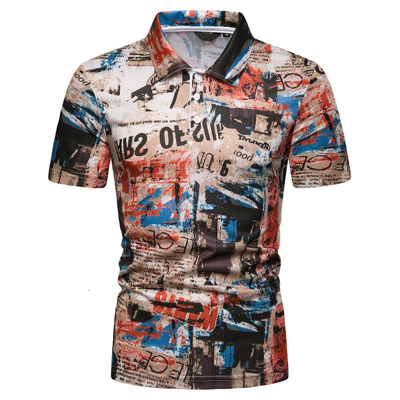 Polos 2021 T-shirt d'été Graffiti style imprimé manches courtes pour hommes Polo occasionnel