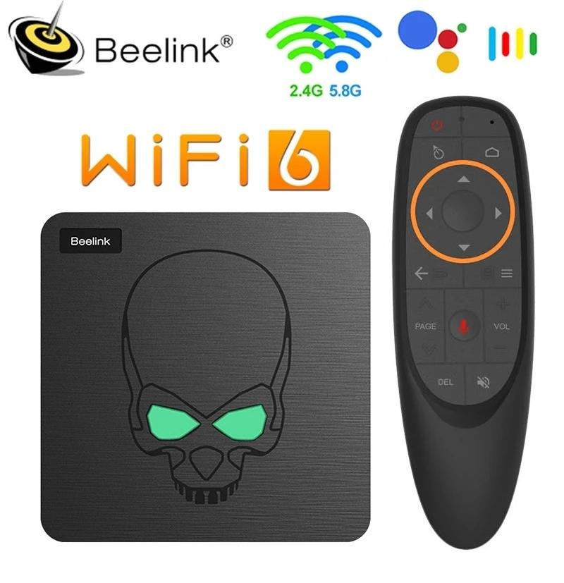 Beelink GT King WiFi6 صندوق التلفزيون الذكي Android 9 Amlogic S922X رباعية النواة 4 جيجابايت 64GB TVBOM BT4.1 1000M LAN Android 9.0 4K تعيين مربع أعلى