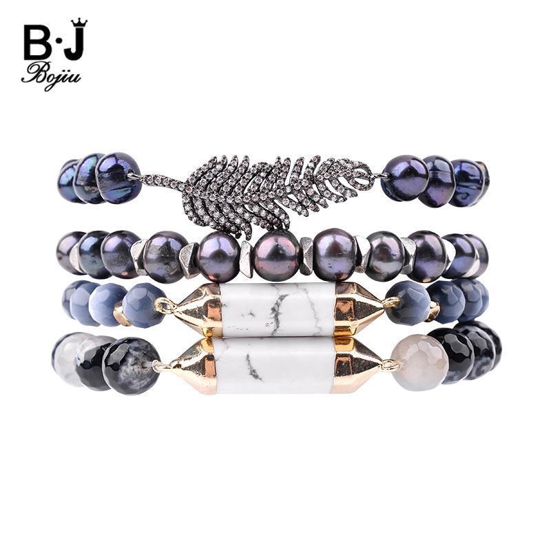 Bracelets de charme Bojiu Natural Natural Natural Blue Perle Feuille Bracelet Pour Femmes Opal Cat Eye Faceté Pierre Pierre Perlée Femme Bijoux BC206