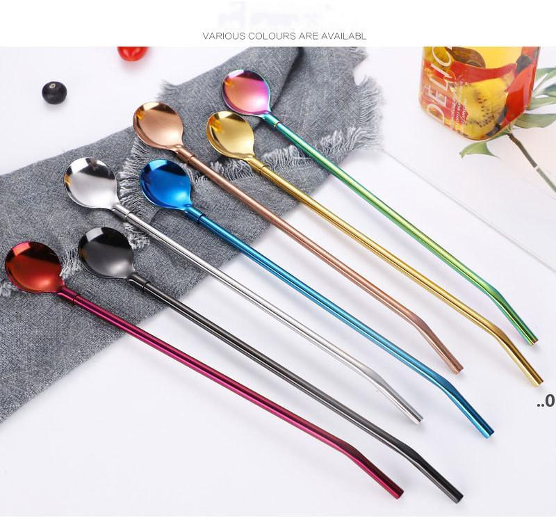 Drinking Long Straws Spoon Stainless Steel Long-Handle Mixing Spoons Coffee Milk Tea Stirrer Bar Tools Barware Kitchen Tool FWD9141