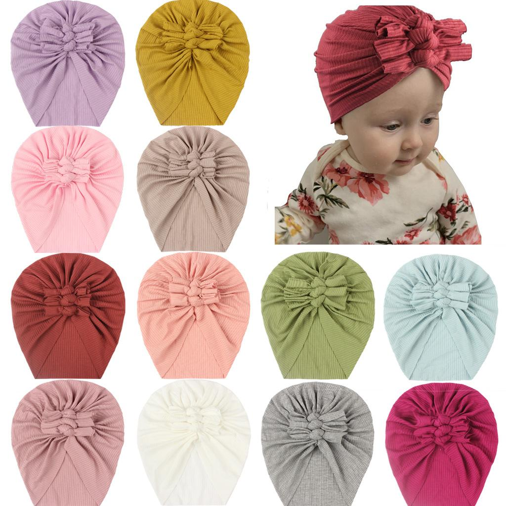 Free DHL Toddler Baby Boys Girls Solid Bows Hats Headwear Cute Beanie Cap Hair Accessories for Newborn Infant Photography Props Turban Hat Children