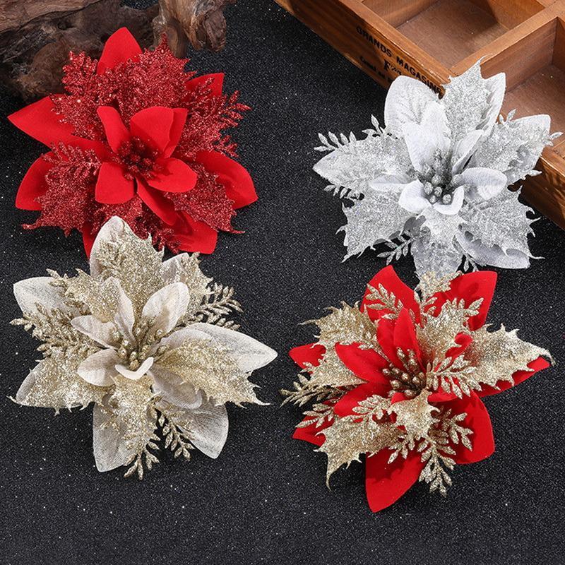 Flores decorativas grinaldas 1/5 / 10pcs glitter artificial Feliz Natal enfeites de árvore decorações para o ano em casa decoração de festa de casamento