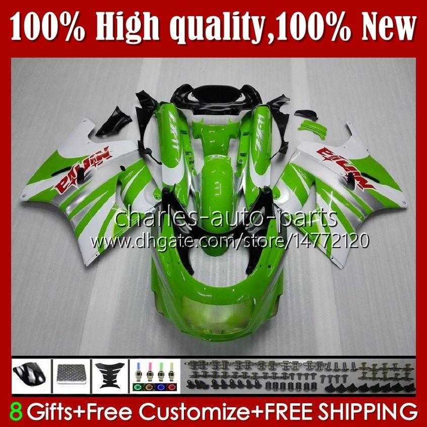 OEM Ciało dla Kawasaki Ninja ZZR 1100 CC ZX11 R ZZR-1100 96 97 98 99 00 01 31HC.7 Zielony biały ZX-11R ZX11R ZX 11 R 1191 ZX-11 R ZZR1100 1990 1991 1992 1993 1994 1995 Zestaw targowy