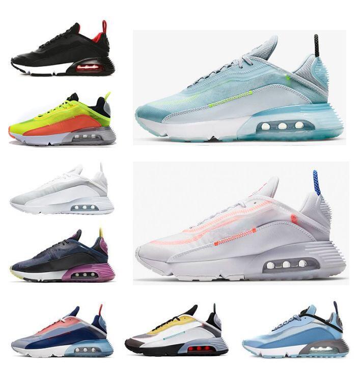 2021 الرجال النساء 2090 الاحذية النقي البلاتين الثلاثي الأسود الأبيض الليزر الأزرق رجل المدربين chaussures الرياضة أحذية رياضية الحجم 36-45 55RQ #