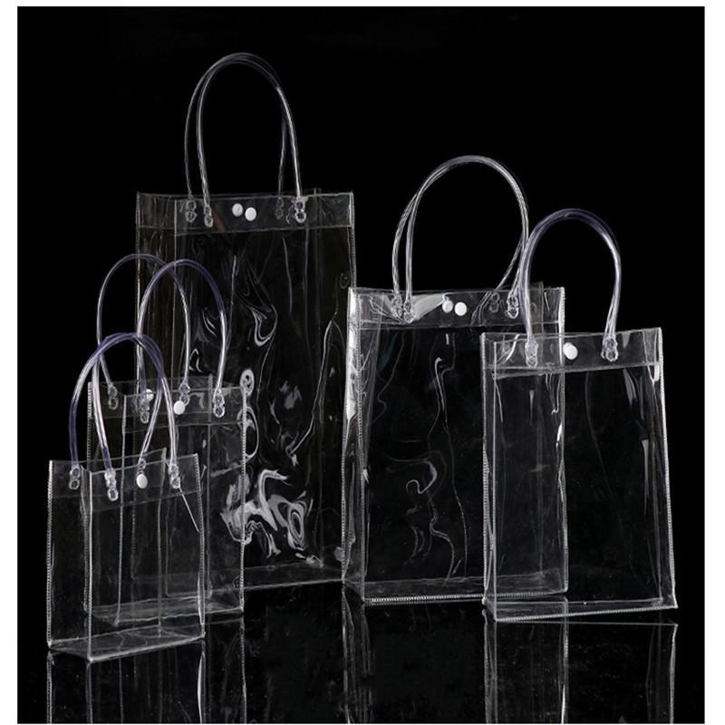 Gift Wrap 150pcs/lot 20*16*8cm Transparent Soft PVC Tote Packaging Bags With Hand Loop, Clear Plastic Handbag, Cosmetic Bag