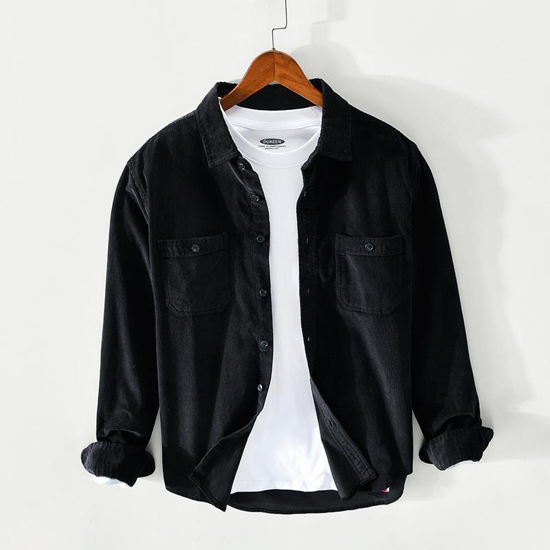 봄 가을 패션 남자 셔츠 고품질 캐주얼 코듀로이 코튼 긴 소매 셔츠 Camisa Hombre 단순 디자이너 의류 남성