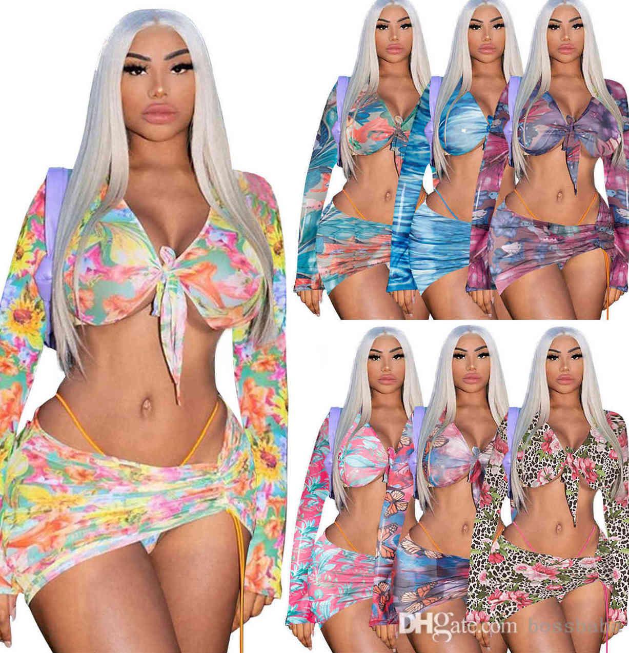 إمرأة الاستحمام الدعاوى ثلاثة قطعة بيكيني مجموعة فساتين الصيف مصمم رياضية أزياء مثير المطبوعة غير النظامية الرباط تنورة قصيرة ضمادة الورك ملفوفة