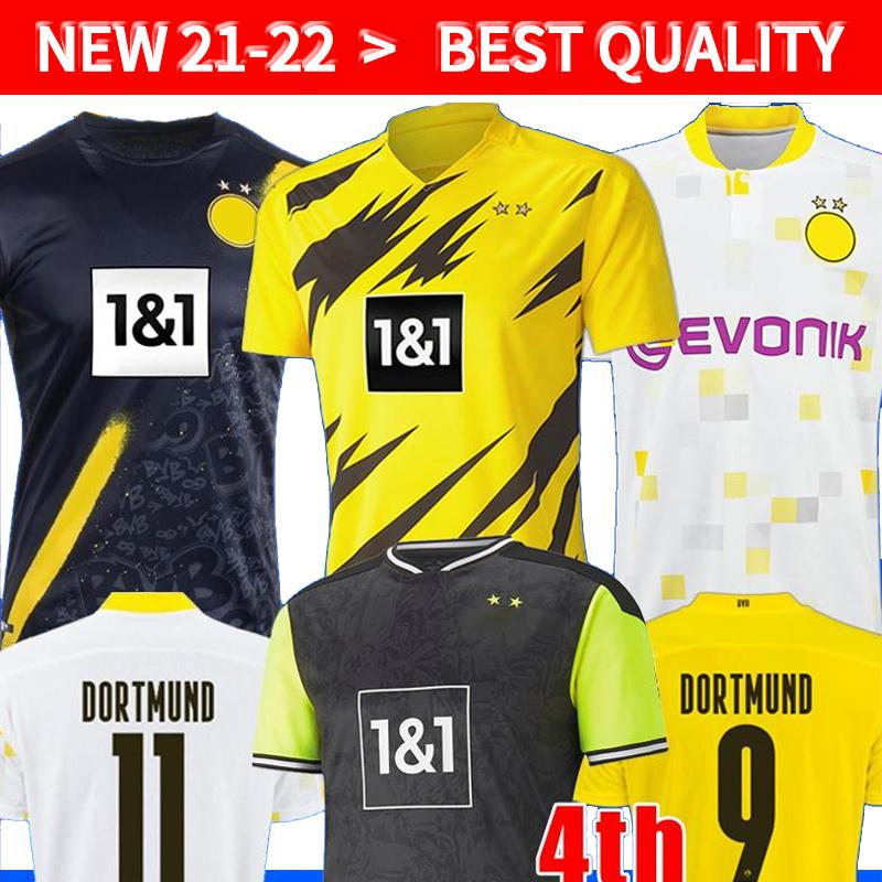 Dortmund Haaland Reus 20 21 22 dördüncü 4th Brandt Futbol Forması 2020 2021 Futbol Gömlek Bellingham Sancho 110th Erkekler + Çocuklar Maillot de Foot Kaleci