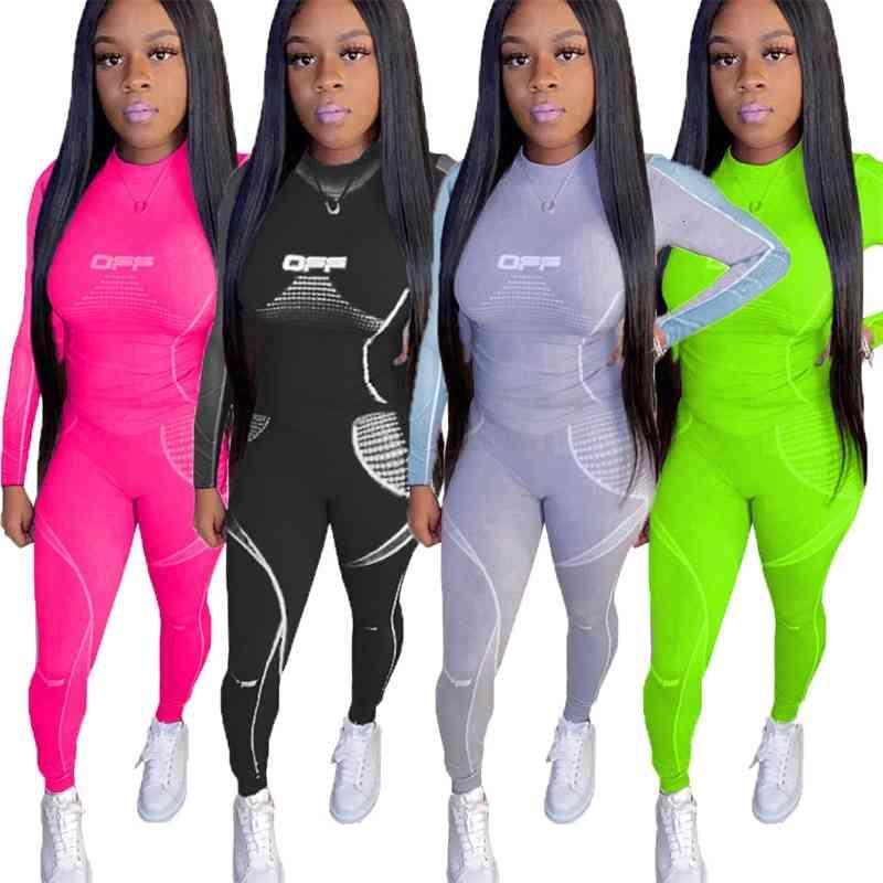 Womenr 두 조각 세트 패션 디지털 인쇄 여러 가지 빛깔의 스포츠 정장 긴 소매 정장 KLW3239
