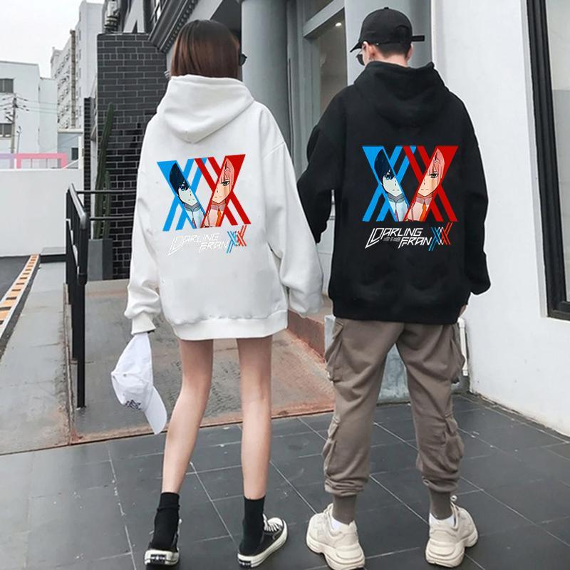 Femmes Darling dans le Franxx Print Sweats à capuche plus Taille Couples Couples coréens Sweat à capuche automne hiver All-match Loisirs Streetwear Swewear Femme