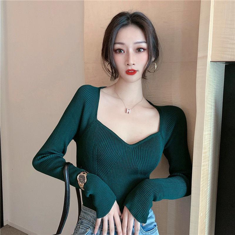 Women's Sweaters Suéter feminino com gola quadrada de cintura alta, blusão curto tricô HS0K