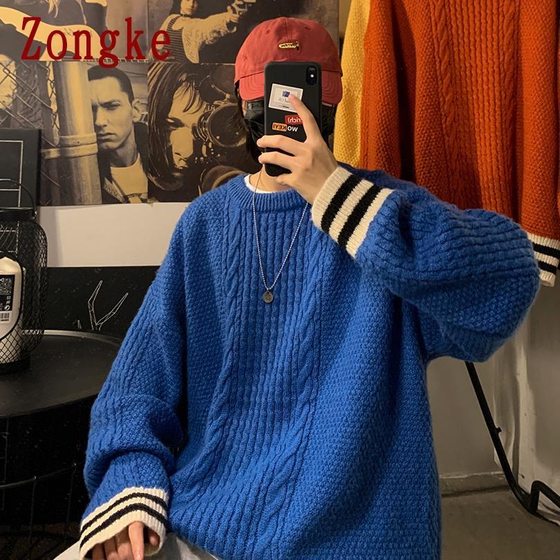 니트 스트라이프 스웨터 남자 하라주쿠 풀 오버 남자 스웨터 패션 힙합 스웨터 겨울 옷 남자 2XL 2021 봄