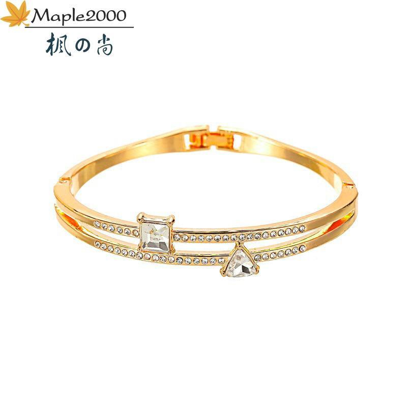 Triangle Stitching Zircon Bracelet Double Layer Bracelets Simple Refined Fashion For Women Jewelry Girlfriend Gift Bangle