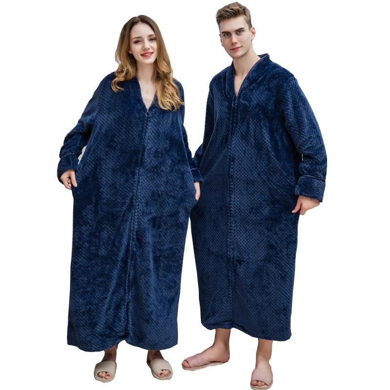 Kadın Pijama Terry Sabahlığı Katı Kalın Kış Bayanlar Gecelikler Fermuar Gevşek Robe Kabarık Flanel Uzun Bornoz Çift Kadın